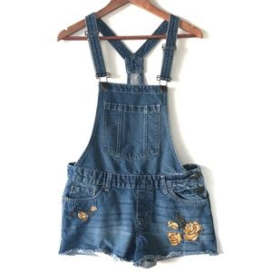 Bluenotes Overall Shorts Rose Embroidery Small